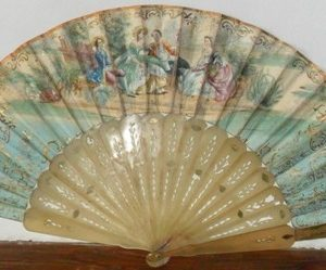 Elizabethan hand fan with tortoiseshell sticks