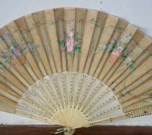 Small painted silk hand fan and bone sticks