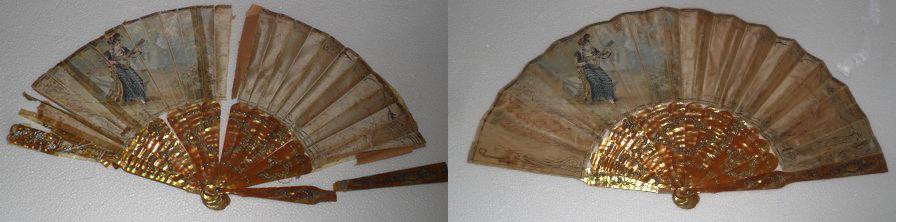 Restauración de abanico de seda con varillas de nácar
