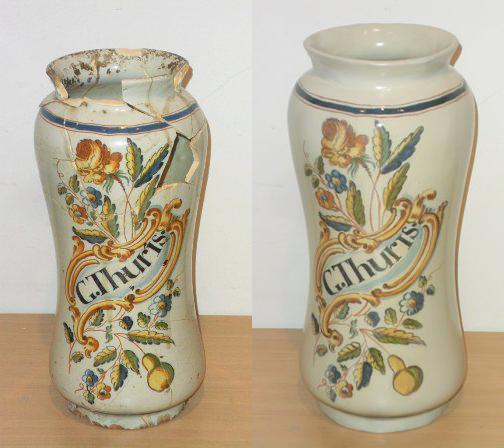 Restoration of ceramics, terracotta, earthenware, enameled ceramics, archaeological ceramics