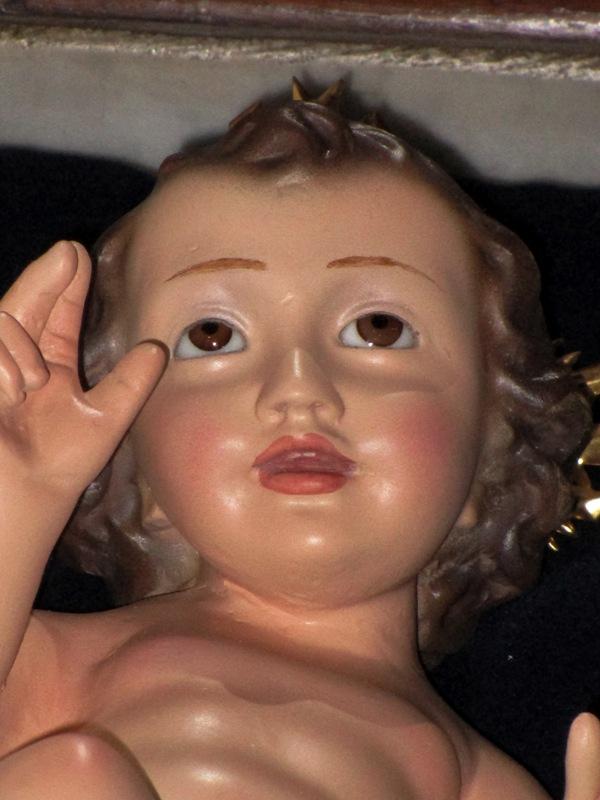 Niño jesús con ojos de cristal con marca olda