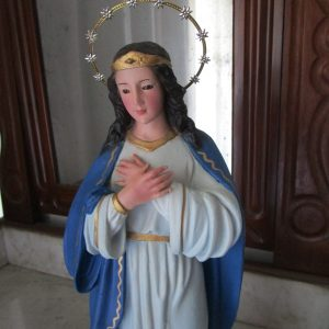 Figure of the immaculate virgin with glass eyes
