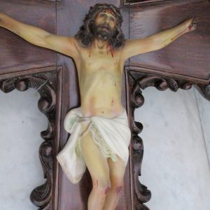 Antique crucifix with christ in plaster with crystal eyes from olot