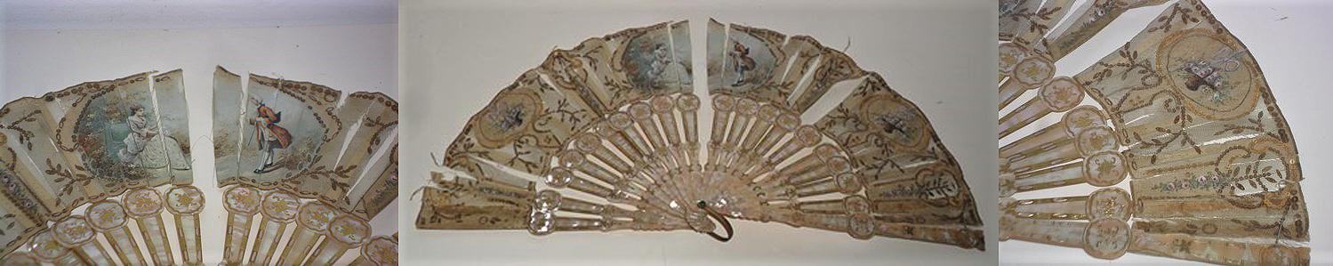 Restauración de abanico de varillaje de nácar y país de tul-inicial