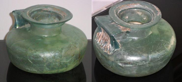 Restauració d'un recipient arqueologico romà de vidre