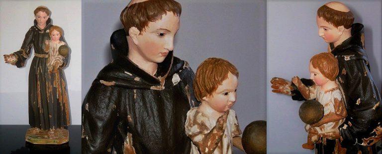 Restauració de talla de fusta Sant Antoni de Pàdua amb el nen Jesús