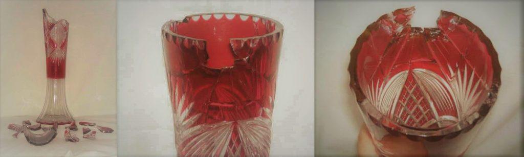 Restauración de jarrón de cristal tallado con detalles de color rojos