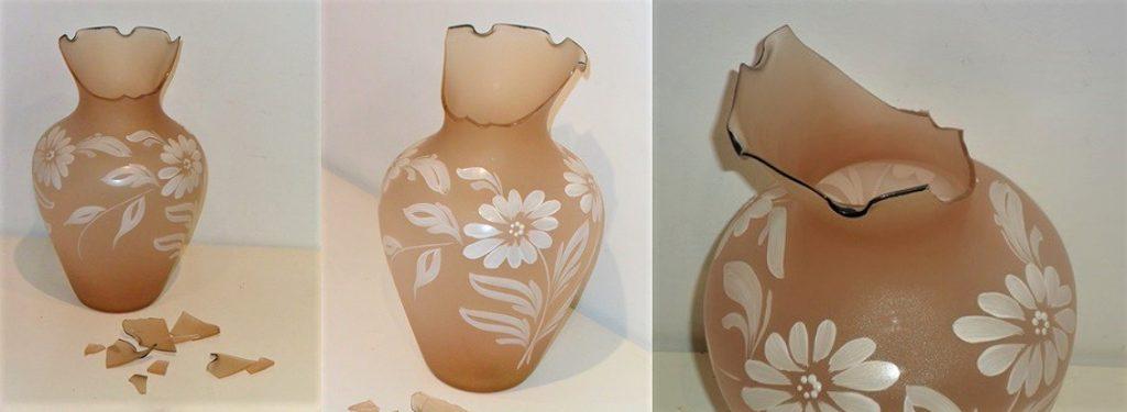 Restauración de un jarrón de opalina de color ocre
