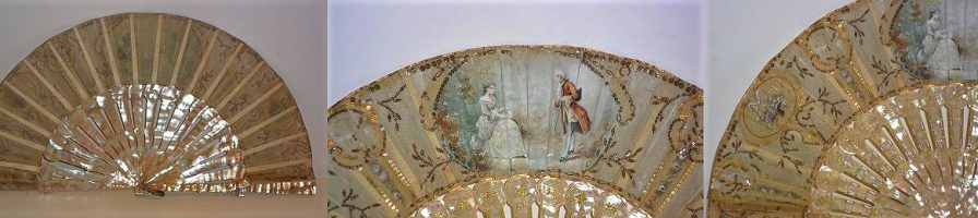 Mother-of-pearl and tulle leaf hand fan